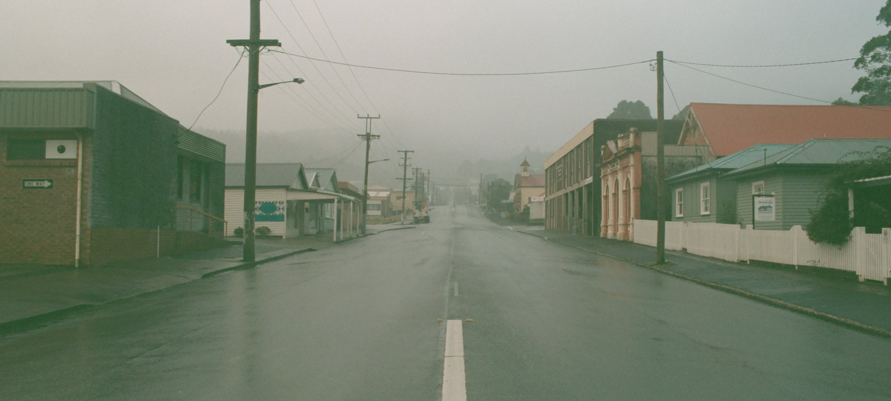 Foggy street in Queenstown